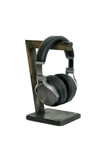 Ebony Headset Headphone Stand Hanger Holder Wood Stable Freestanding Home Made