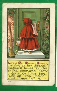 Little Red Riding Hood knocking on door/ non-linen postcard