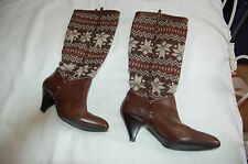 Cole Hann Wool Knit Legwarmer Studded Brown Leather Knee Boots Shoes Size 8 B