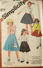 Vtg Simplicity pattern 6131 Girls' Set of Skirts with applique sz 10,12,14 uncut
