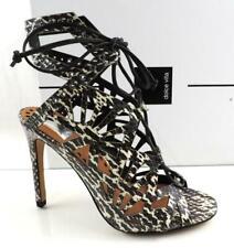 3fd79c0c9ec Dolce Vita Helena Lace up Cutout Heel Sandal Black White Snake Leather Size  7.5