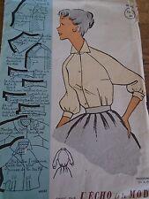 ANCIEN PATRON ECHO DE LA MODE French Pattern 1960 BLOUSE MANCHE 3/4 T 44