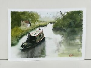Canal boat  landscape Watercolour Painting 100 barge narrow boats