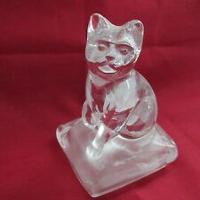 LEAD GLASS CRYSTAL CAT KITTEN ON SATIN GLASS BASE PAPERWEIGHT
