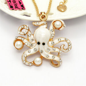Charm White Enamel Pearl Octopus Crystal Pendant Betsey Johnson Chain Necklace