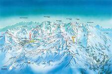 VAL THORENS Mappa da sci - 30x20 pollici Canvas-Snowboard Foto Incorniciata Alpi