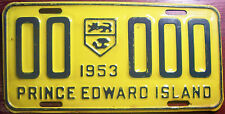 1953 PRINCE EDWARD ISLAND CANADA SAMPLE ALL ZEROS LICENSE PLATE 00-000 P.E.I.