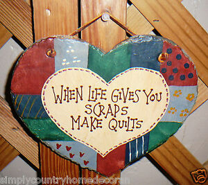 SLATE PLAQUE~Hanging Signs~Handcrafted~Hand Painted~Quilting Theme~Heart