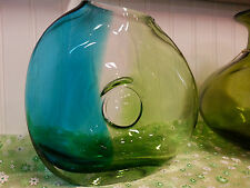 BEAUTIFUL GREEN AND BLUE COLORED HANDBLOWN GLASS VASE