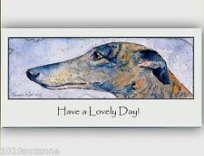 ORIGINAL BRINDLE GREYHOUND DOG PAINTING BIRTHDAY GREETINGS CARD SUZANNE LE GOOD