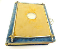 Antique Turn of the Century Cloth Covered Brass Reinforced Family Photo Album