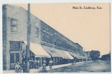 c1910 Lindsborg Kansas Kans Ks Postcard Main Street Drug Store Men Bicycles