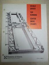 Vtg Robin Myers Material Handling Products Brochure~Center Drive Cranes~Catalog