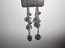 Paparazzi Earrings (new) DANGLING FLOWERS & CRYSTAL BLUE BEADS
