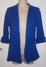 QUIZ WOMENS FORMAL CASUAL SMART 3/4 LENGTH SLEEVE BLUE BLAZER JACKET: UK SIZE 10