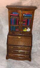 Vintage Wood Bookcase Secretary Desk Dollhouse Miniature Wood W Books!