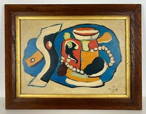 EARLY 1900s FRENCH FERNAND LEGER ANTIQUE  OIL / CANVAS PAINTING ORIGINAL