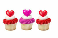 Heart Valentine Love cupcake rings (24) party favor cake topper 2 dozen 3D