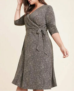 NEW Ryllace $188 Luxury Wrap Dress Side Tie Dress Plus 2X Taupe Paisley NWT