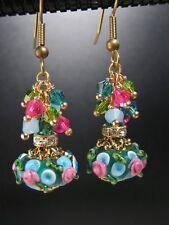 Artisan Earrings Vintage Primrose Lampwork Drops in Peacock Blue Brass