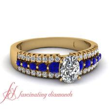 1 Ct Oval Shaped Diamond & Sapphire Gemstone Three Row Beautiful Engagement Ring