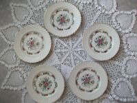 5 Anciennes Assiettes Plates en Faïence  23,7 cm OLD PLATES FRENCH 1950