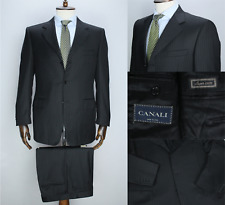 Formal CANALI Dark Grey PURE WOOL Striped Full Canvas Suit 50IT 40US/UK 34X31