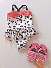 Gymboree Animal Print One-Piece Swimsuit & Kitty Cat Flip Flops Toddler Girl 2T