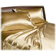 Silk Soft Polyester Satin Bed Sheets + Pillowcases Set CAL KING SIZE GOLD
