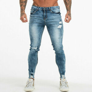 GINGTTO Men Jean Slim Fit Bottom Ripped Skinny Stretch Denim Trouser Stonewashed