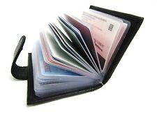 Genuine Cuero Negro Suave Titular de Tarjeta de Crédito Billetera Monedero Bolsa de Bloqueo de RFID