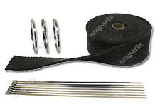 10M BLACK HEAT WRAP EXHAUST MANIFOLD DOWNPIPE + 10 CABLE TIES 36cm 1000 Degree