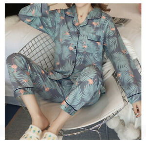 Ladies Women Pyjamas Set Long Sleeve Night wear Lounge Wear Pajamas Pjs Sleep Da