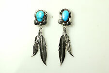 Unmarked Silver and Turquoise Southwestern Style Dangle Earrings 10g (EAR3995)