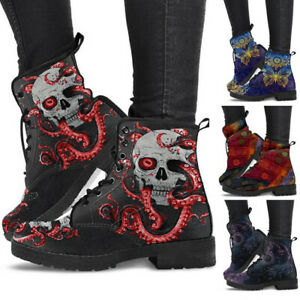 Womens Chunky Sole Pouch Heel Ankle Boots Pocket Goth Punk Biker Shoes New