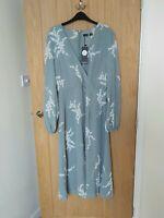BOOHOO Size 12 TALL Sage Green Floral Mock Wrap Dress BNWT Summer Floaty