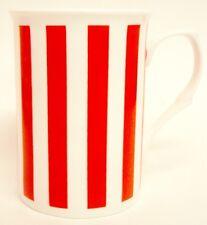Red Lines Mugs Set of 2 Fine Bone China Vertical Stripes Mugs Hand Decorated UK