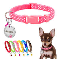 Personalized Nylon Puppy Small Dog Collar Free Bell with Pawprint Dog ID Tag