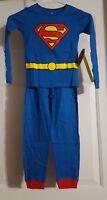 New Boy's DC Comics Sleepwear Superman 2pc Long Sleeve Shirt & Pants Set Size 6