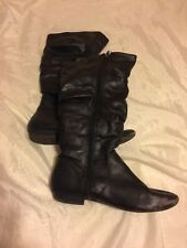 Women's Boots Size 7 1/2 7.5 Black Faux Leather Knee High Fur Liner Warm Winter