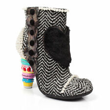 Irregular Choice Bee Delicious Women Other Fabric Pink Ankle BOOTS Black Silver EU 39