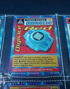 """Digimon Digital Monsters """"Digivice Red"""" Power Option St-59 (Bandai, 1999) Card"""