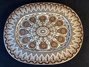 "Gorgeous Antique Brownfield & Son CYPRUS 13.75""x 12 Transferware Platter Turkey"