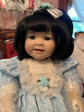 NIB Marie Osmond Porcelain Doll Collection Asian Toddler Lin Seated Position