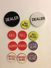 Twelve Assorted Dealer Buttons 1 White Dealer 1x Black Dealer &10 Small Buttons