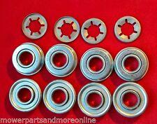 8 x Lawn Mower Wheel Bearings & 4 Clips -  MASPORT, ROVER, HONDA 91055-VB4-003