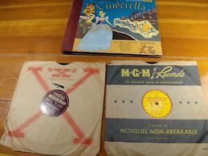 CINDERELLA BOOK & RECORD  WY-299 -1949 and 2 records  rare  WALT DISNEY - RCA