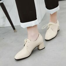 Women's Patent Leather Oxfords Square Toe Block Mid Heels Lace Up Shoes Formal