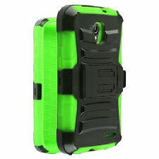 Holster+Full Black Hybrid Stand Case For LG Access LTE L31G L31C L31L F70 Phone