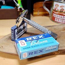 1965 Gillette Super Speed Flare tip Vintage safety razor Rex dispenser NOS NIB